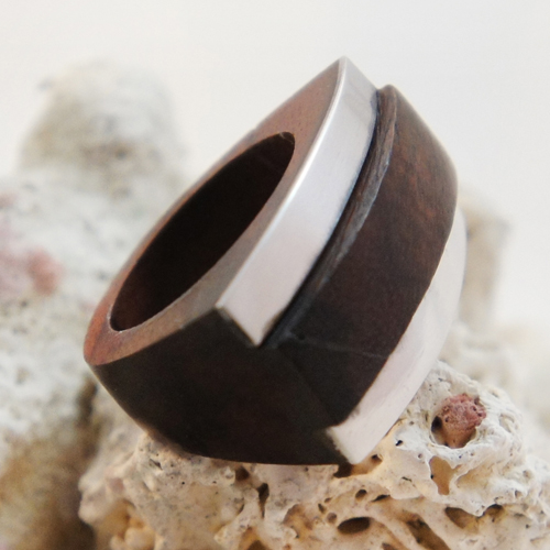 Dark Sono Wood Rectangular Ring with Stainless Steel Stripes