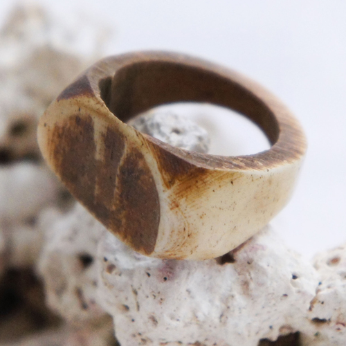 Antique Bone Small Saddle Divet Ring