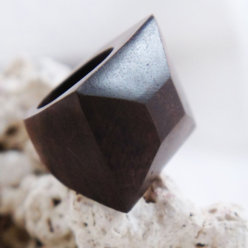 Sono Wood Rectangular Diamond Cut Ring