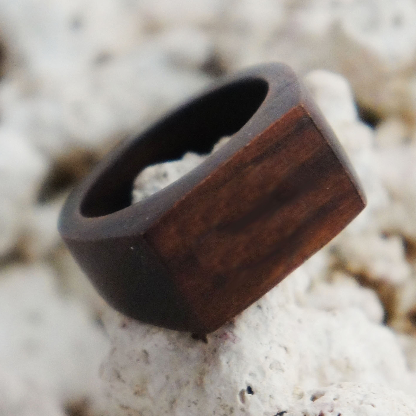 Simple Rectangular Sono Wood Ring