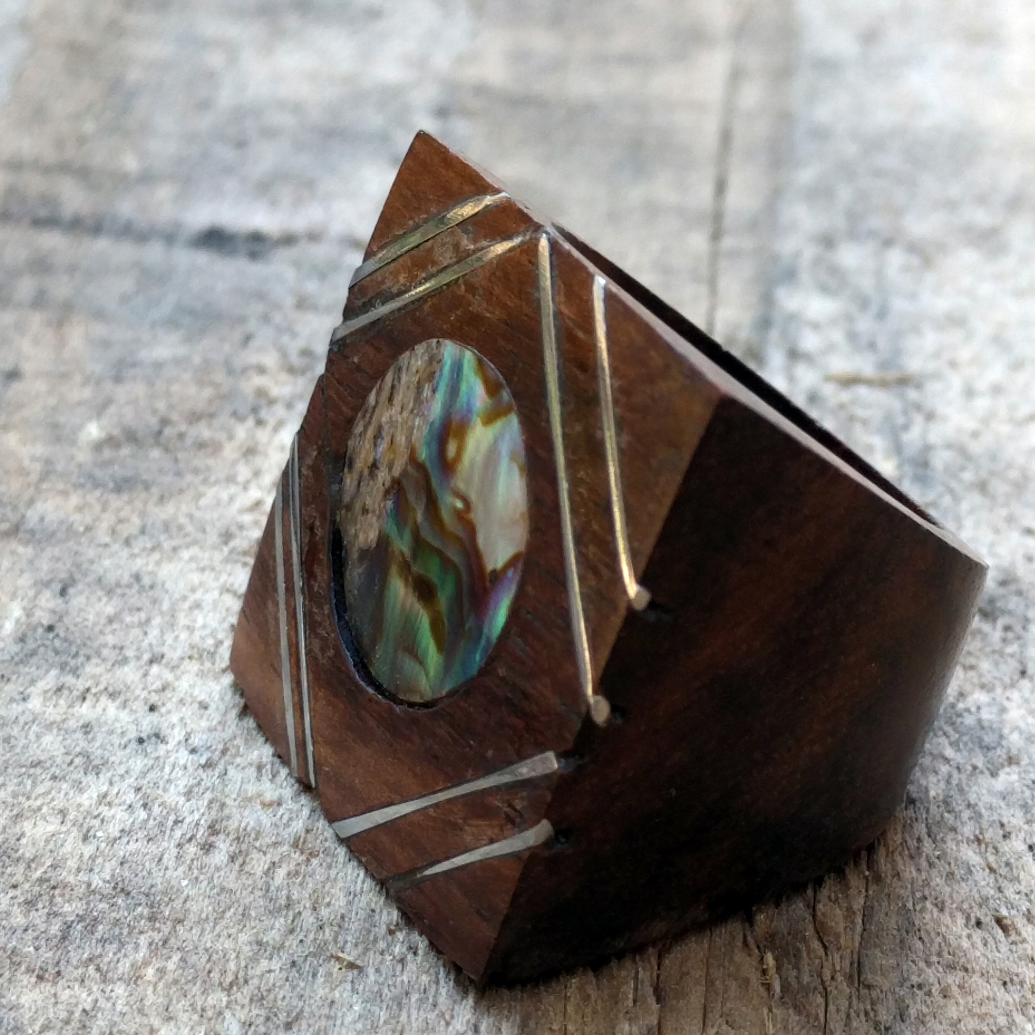 Organic Oblong Wood Ring W/Shell & Stainless Steel