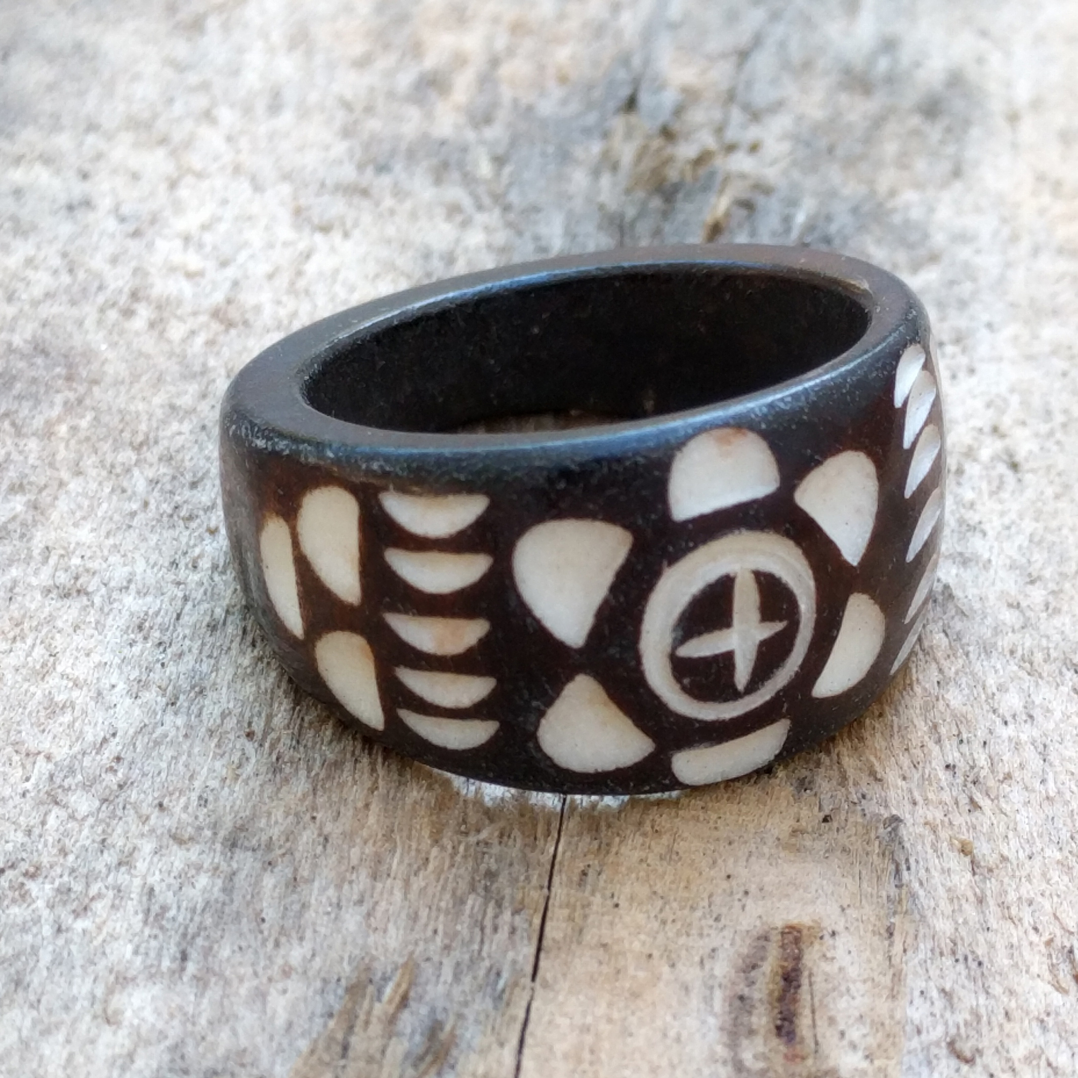 Flower Arrow Maori Style Bone Ring
