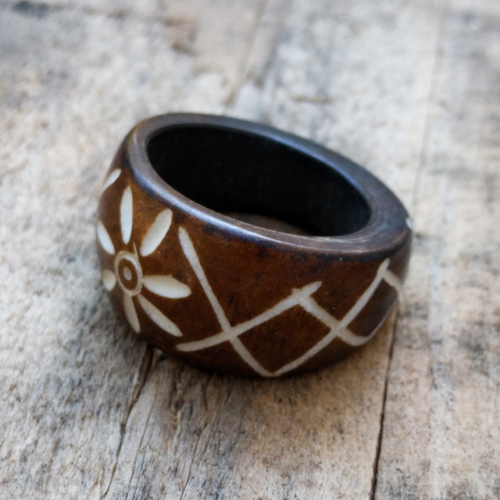 Flower Organic Maori Design Bone Ring