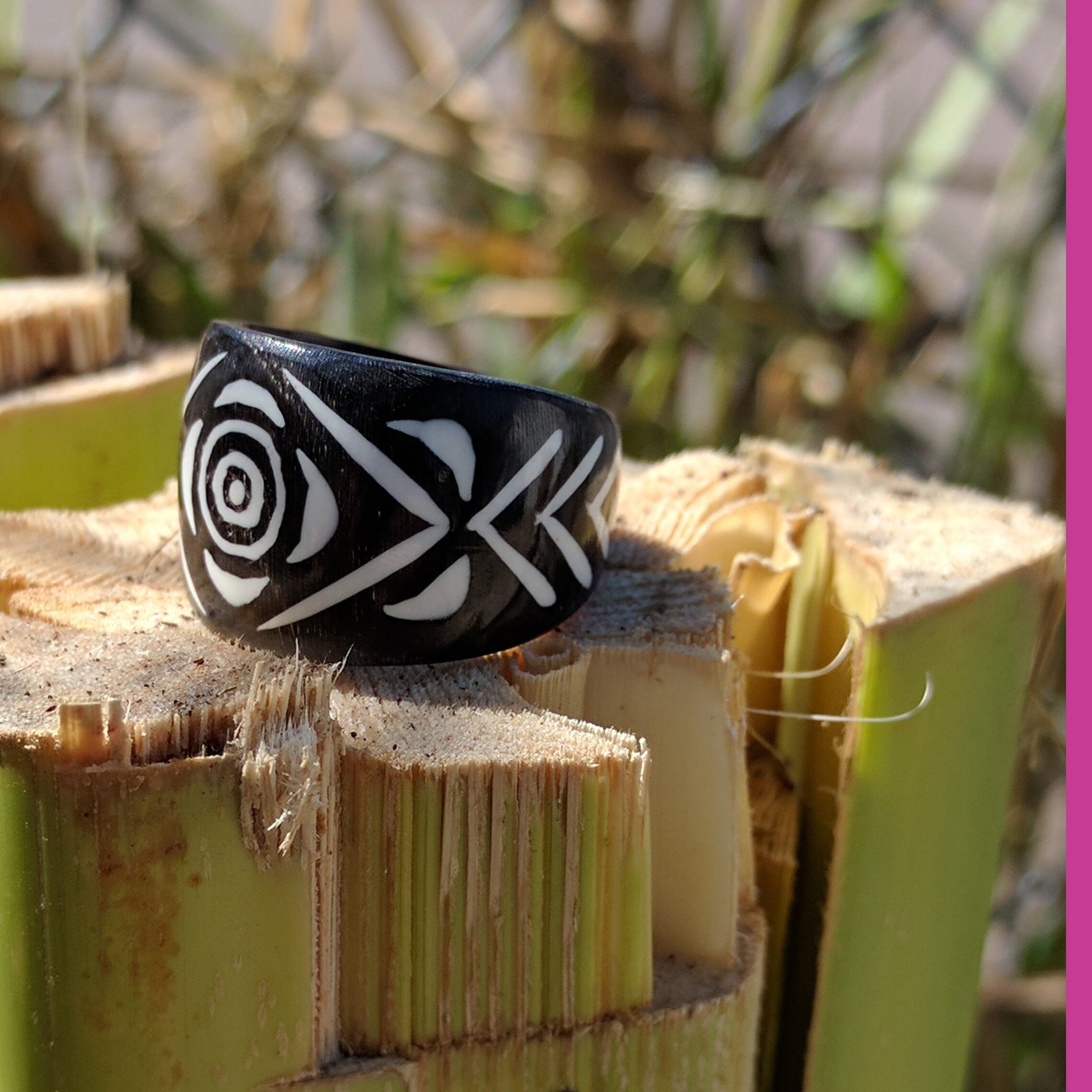 Rose Carved Horn Ring with Stripes