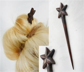 Sono Wood Single Prong Hair Stick w/ Star