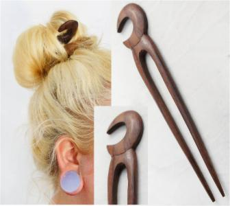 Crescent Moon Double Prong Wood Hair Stick