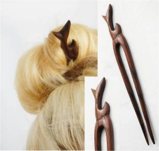Tribal Fish Tail Double Prong Wood Hair Stick