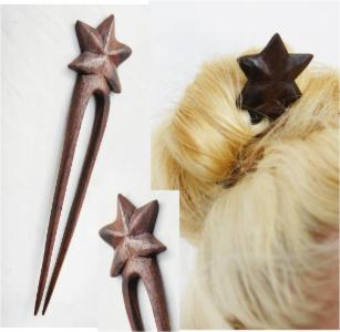 Classic Star Double Prong Sono Wood Hair Stick