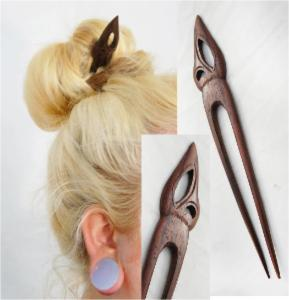 Feather Top Double Prong Wood Hair Stick