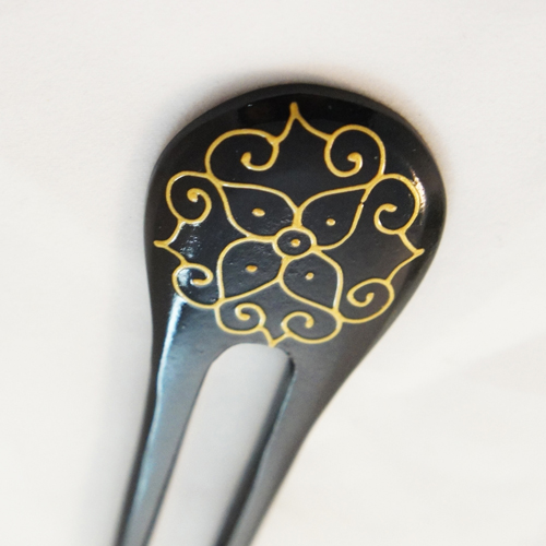Gold Painted Floral Sono Wood Hair Stick