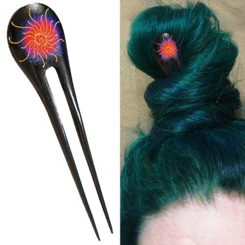 Psychodelic Abstract Galaxy Spiral Double Prong Hairstick