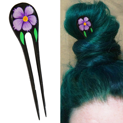 Purple Painted Hibiscus Flower w/ Leaves Double Prong Hairstick