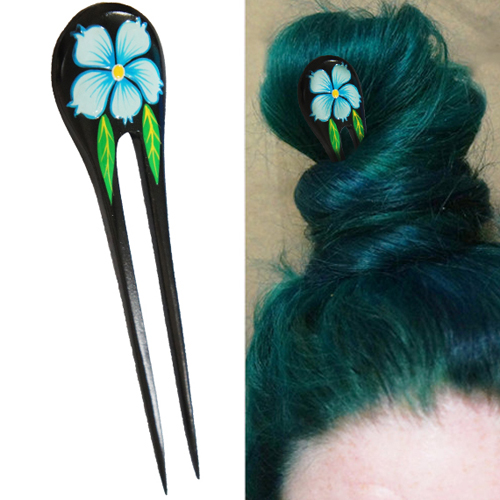 Blue Painted Hibiscus Flower w/ Leaves Double Prong Hairstick