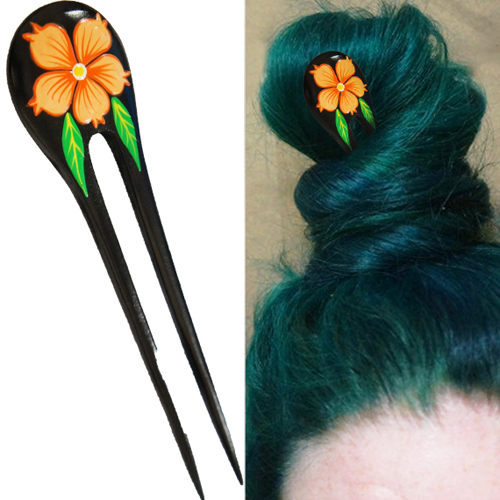 Orange Painted Hibiscus Flower w/ Leaves Double Prong Hairstick