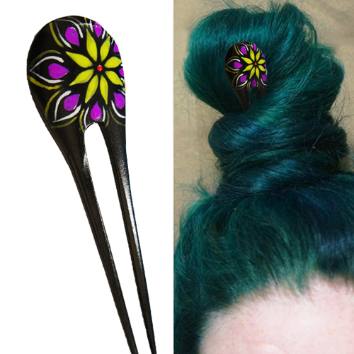 Pychodelic Flower Painted Double Prong Hairstick