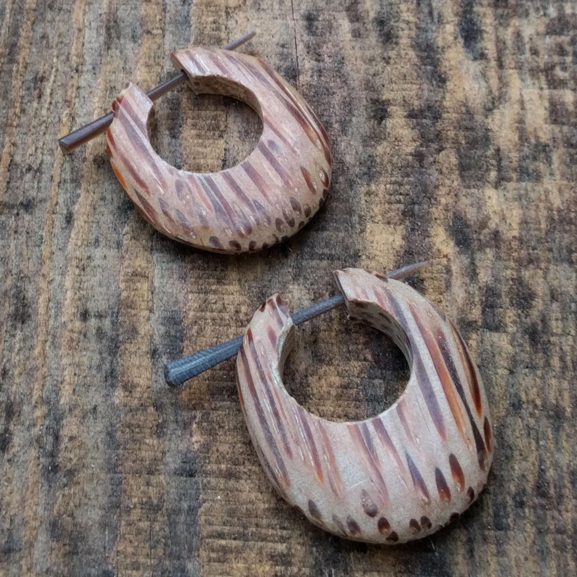 Rounded Palm Wood Stick Earrings