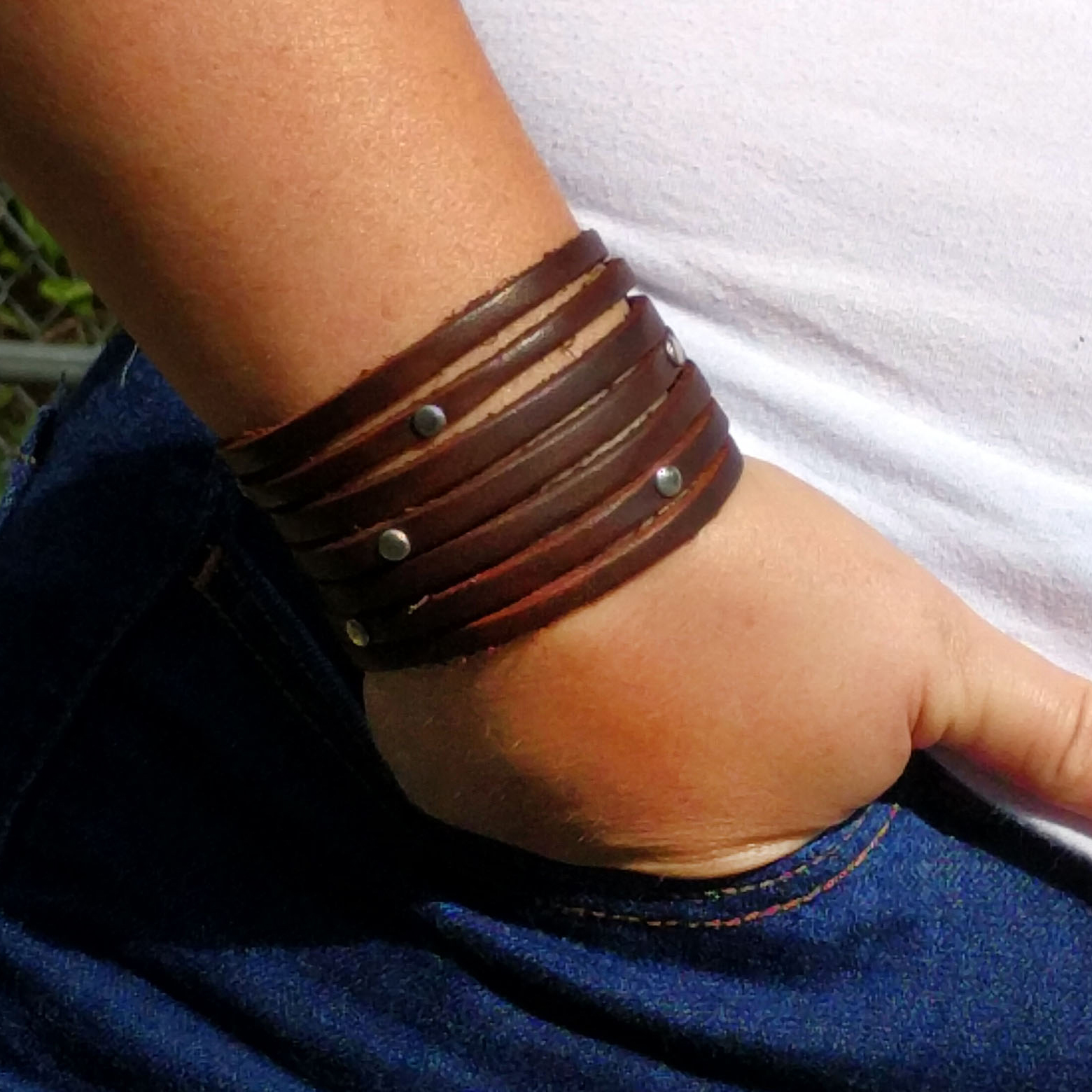 Strappy Cut Thin Strap Studded Bracelet