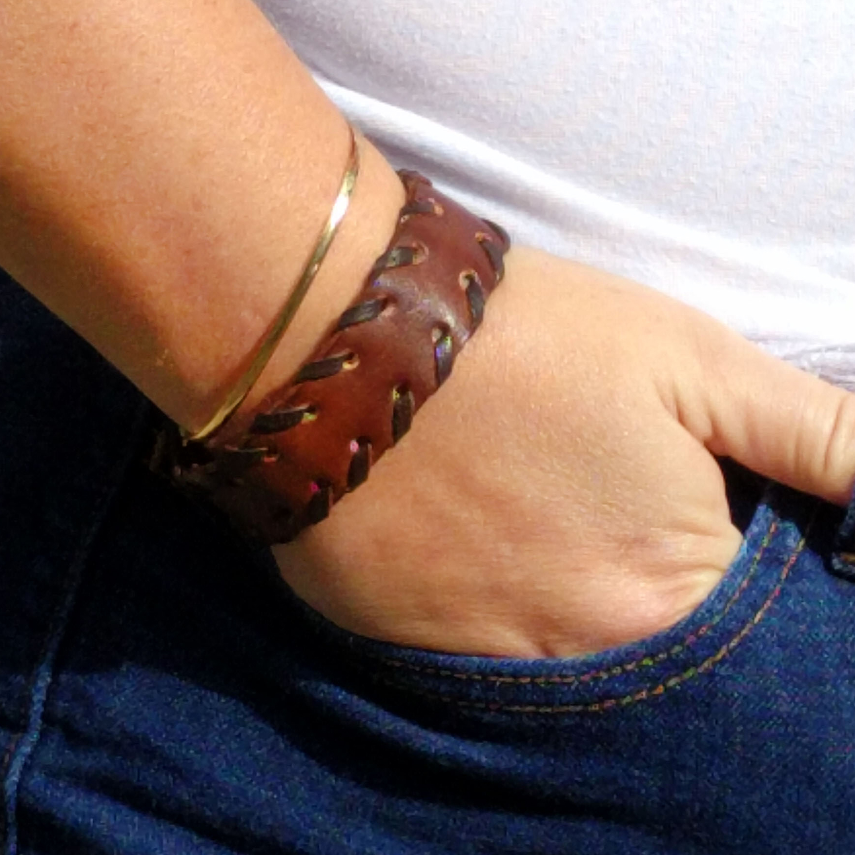 Thin Stiched Leather Snap Bracelet