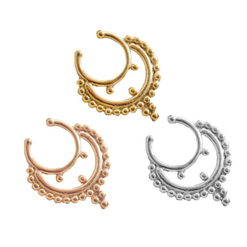 Crescent Septum Illusion Clip with Beaded Trim