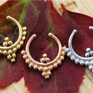 Beaded Trim Indian Style Crescent Septum Clip