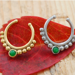 Dark Green Gem Tribal Beaded Crescent Septum Clip