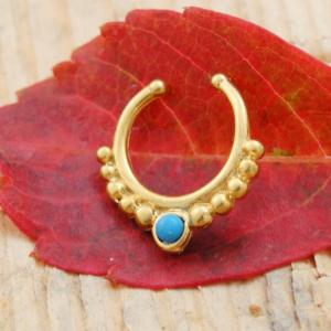 Turquoise Gem Tribal Beaded Crescent Septum Clip