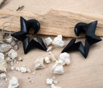 Black Areng Wood Half Star Hangers