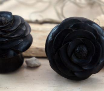 Black Ebony Wood Rose Plug