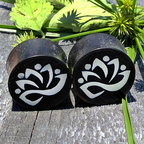 Ebony Wood with Mother of Pearl Lotus Flower