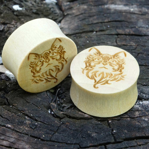 Crocodile wood Plugs w/ Cat Carving