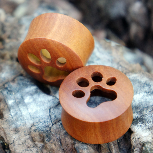 Sawo Wood Paw Print Flesh Tunnels