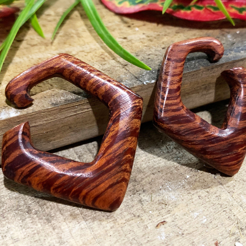 Zebra Wood Hexigon Hoops