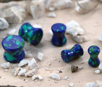 Blue-Green Azurite Malachite Gemstone Double Flared Saddle Plug