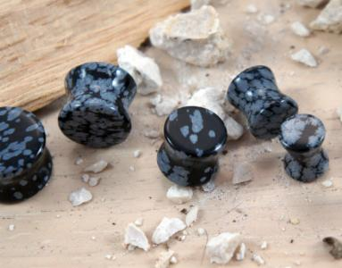Black Snowflake Obsidian Gemstone Double Flared Saddle Plug