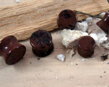 Red Mahogany Obsidian Gemstone Double Flared Saddle Plug