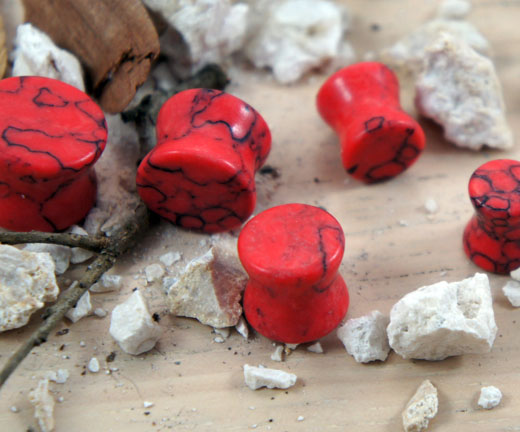 Red Turquoise Gemstone Double Flared Saddle Plug