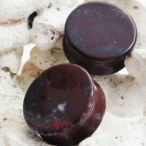 Bloodstone Double Flared Stone Plugs