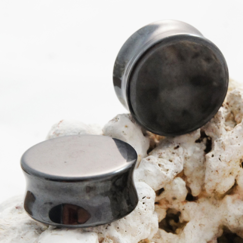 Hematite Double Flared Stone Plugs