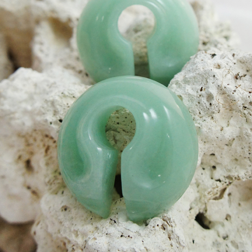 Green Aventurine Rounded Keyhole Ear Weights