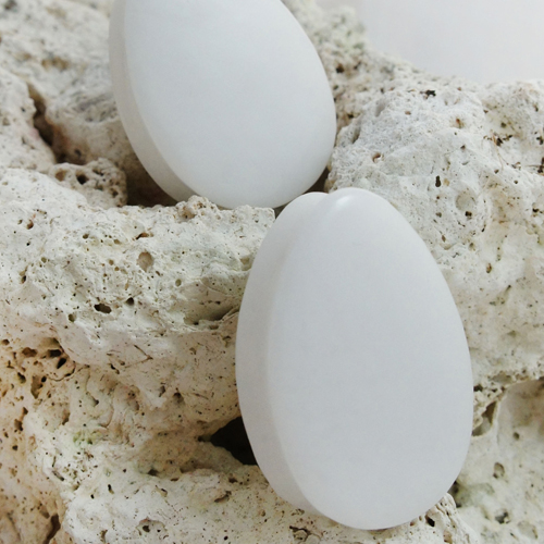 White Jade Teardrop Double Flared Stone Plugs