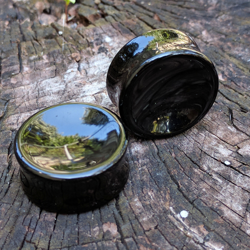 Concave Black Obsidian Saddle Plugs