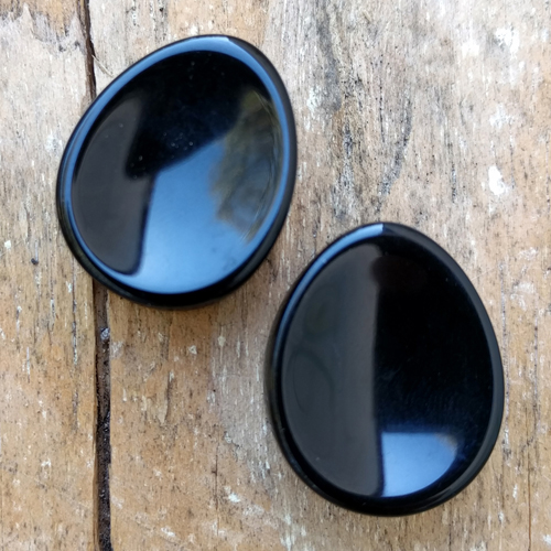 Concave Teardrop Black Obsidian Plugs