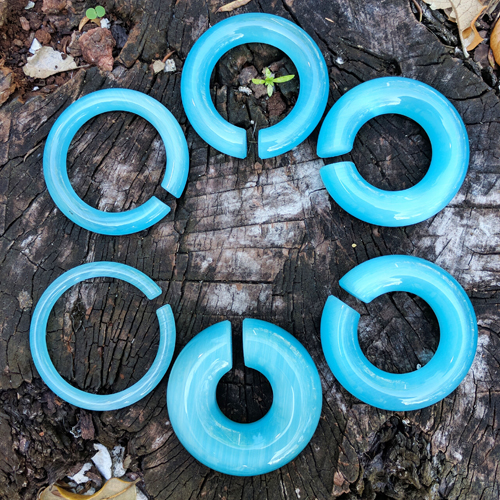 Aqua Cats Eye Circle Hoop Weights