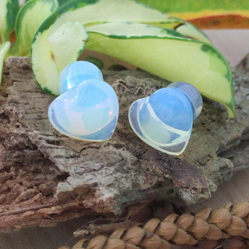 Opalite Gemstone Heart Single Flared Plug