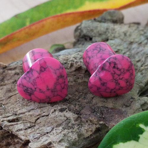 Pink Howlite Gemstone Heart Single Flared Plug