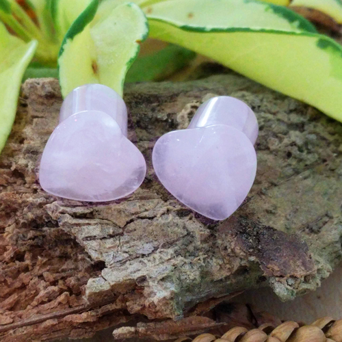 Rose Quartz Gemstone Heart Single Flared Plug