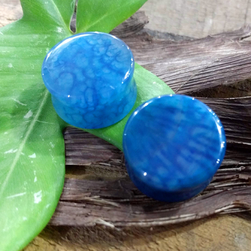 Dragon Vein Agate Blue Double flare plug