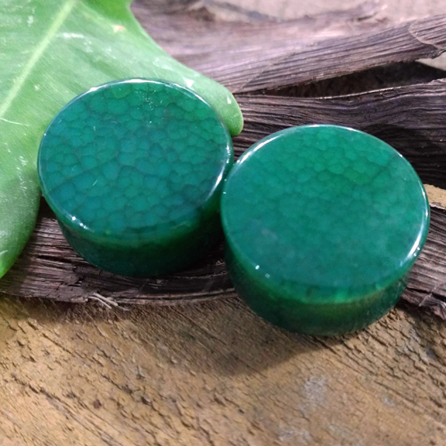 Dragon Vein Agate Green Double flare plug