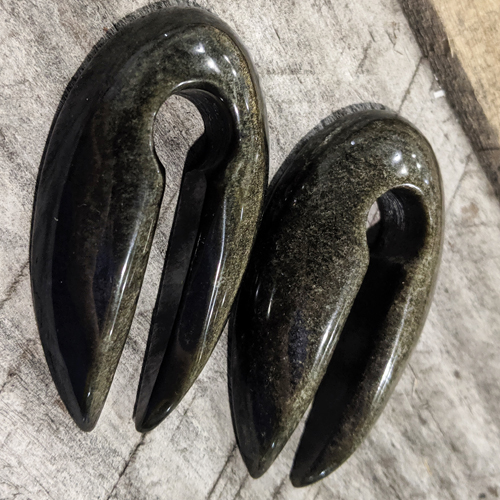 Golden Obsidian Pointed Ear Weights