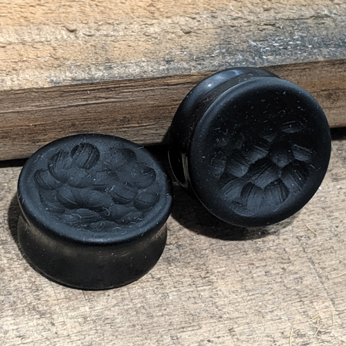Martele Treatment Black Obsidian Concave Double Flared Plugs